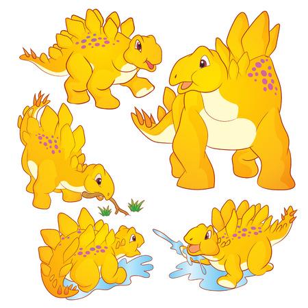 stegosaurus: Ilustraci�n linda del vector de caracteres amarilla de dibujos animados Stegosaurus muchas acciones y emociones