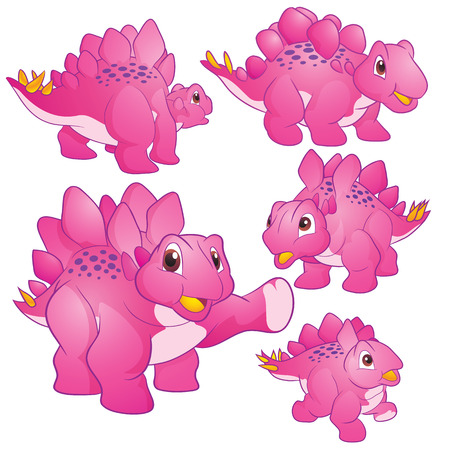 Cute Illustration vector Pink Stegosaurus cartoon character many actions and emotions