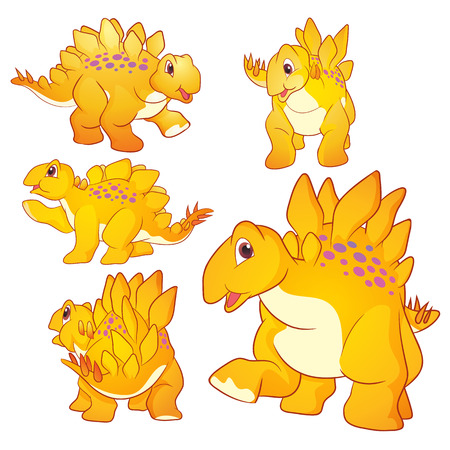 carboniferous: Cute Illustration vector yellow Stegosaurus cartoon character many actions and emotions