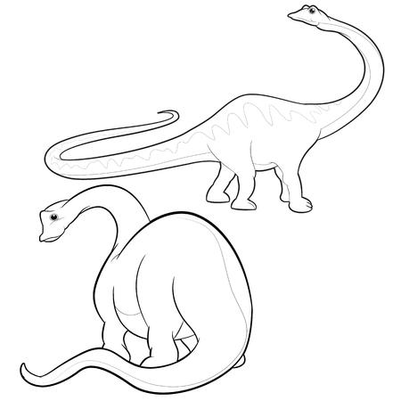 carboniferous: cute vector cartoon apatosaurus actions Illustration