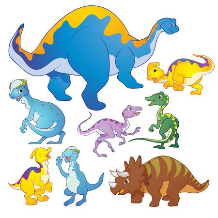 mesozoic: Cute group Dinosaurs vector cartoon many actions