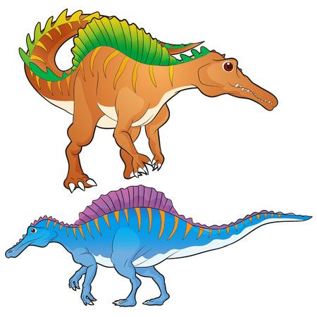 spinosaurus: Cute vector cartoon spinosaurus actions
