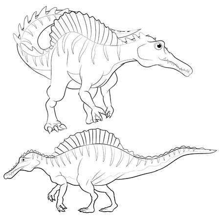 behemoth: Cute vector cartoon spinosaurus actions lineart