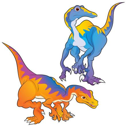 ancestor: Cute Dinosaurs vector cartoon struthiomimus actions Illustration
