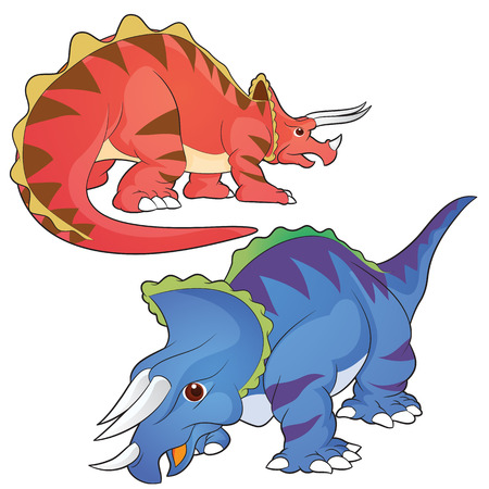 triceratops: Cute Dinosaurs vector cartoon triceratops actions Illustration