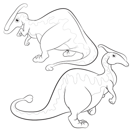 lineart: Cute Dinosaurs vector cartoon Parasaurolophus lineart Illustration