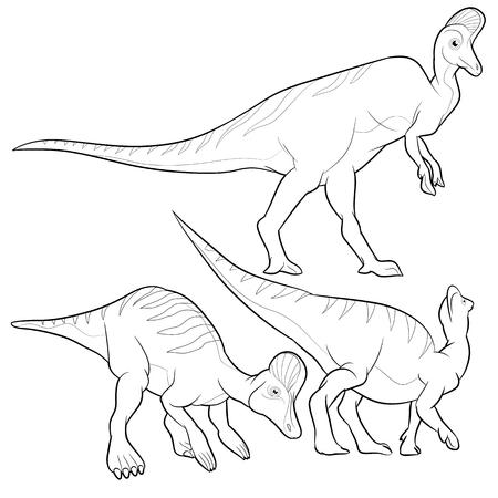 lineart: Cute Dinosaurs vector cartoon corythosaurus lineart