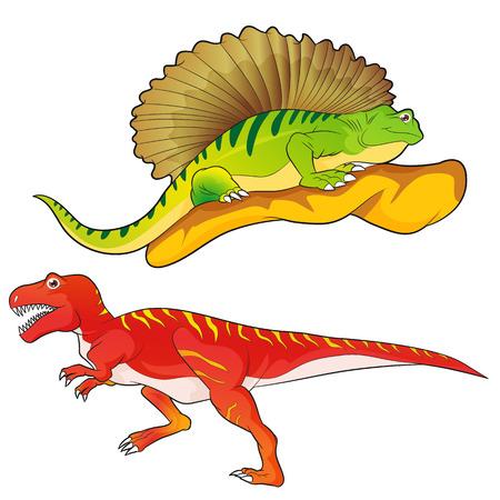 carboniferous: Cute Dinosaurs vector cartoon allosaurus-edaphosaurus