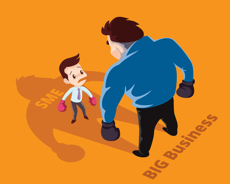 against: Businessman boxing against a giant businessman between SME and Big business.  Business concept cartoon illustration