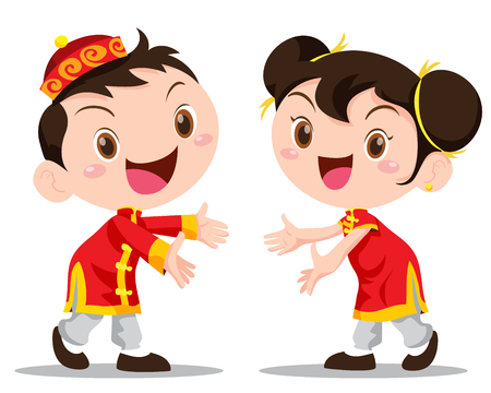 the lovely boy: Vector illustration cute Chinese Kids action be happy Illustration