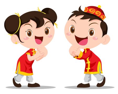 Vektor-Illustration niedlichen chinesischen Kinder Aktion gerne Vektorgrafik