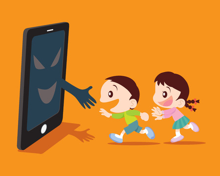 adolescent: Covert disaster for Children with a smartphone concept illustration
