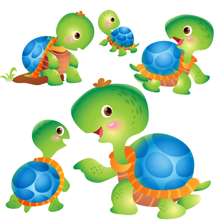 Cute kids turtle cartoon vector