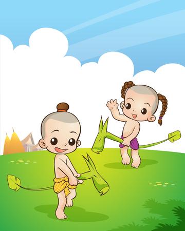 전통적인 태국 어린이 태국 전통 게임을하고있다