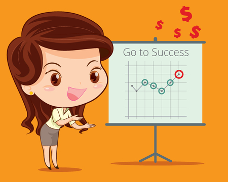 helper: business woman presenting with success brief