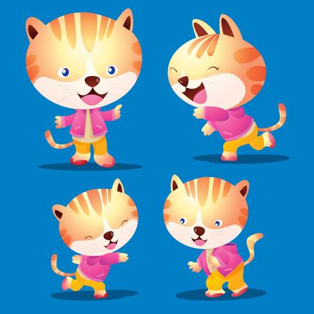 vecter: vecter Cute cat cartoon look smart character many actions