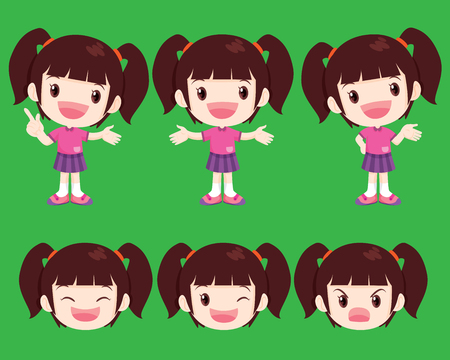 smart girl: vector cute girl look smart many actions Illustration