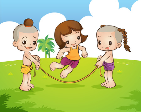 Traditional Thai Children are playing traditional Thai game