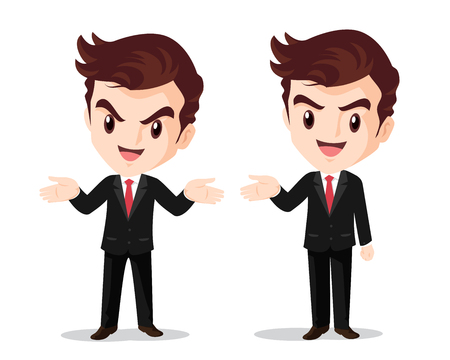 Vector Businessman standing hand up presenting smart look Illustration