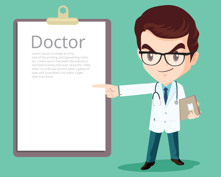 white coat: Smart doctor presenting in various action