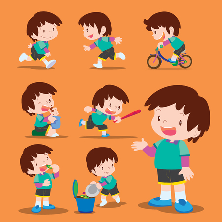 action: Vector set of Cute boy many actions Illustration