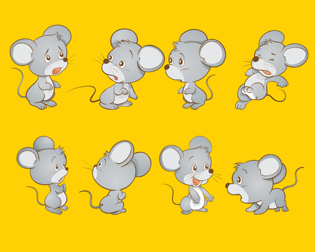 Cute mouse many actions
