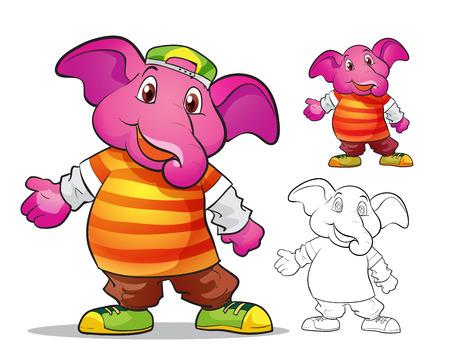 Vector de la mascota lindo color de la historieta elephane y gráficos de línea