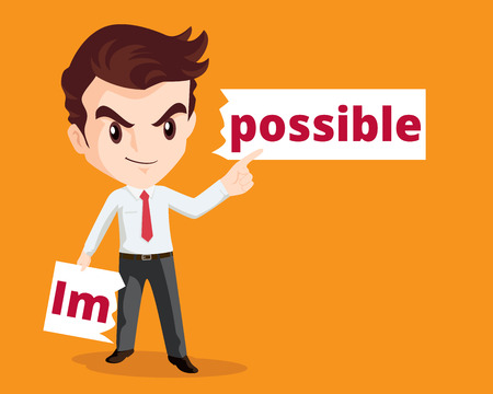 turning point: Vector business concept of Businessman make possible by tear from the word impossible.