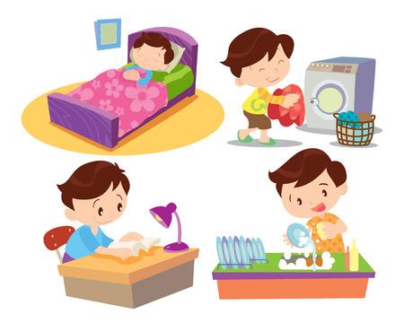홈 귀여운 소년 만화 작업과 수면 많은 행동의 벡터입니다.