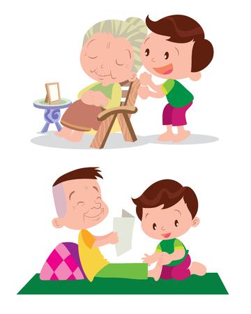 massage enfant: Vecteur de bande dessinée mignonne de garçon de massage de guérison grand-père et grandmather