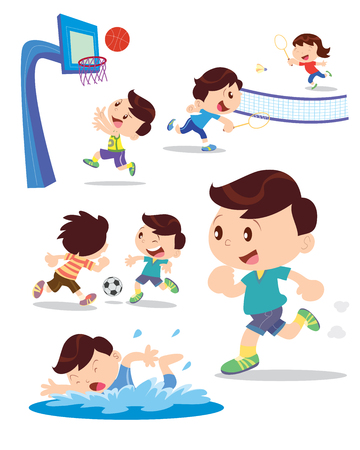 badminton: Vector illusyrator of  children playing multiple sports and many actions