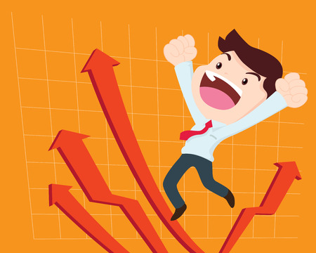 rebound: Illustration of businessman too happy  jump on arrow graph in background. business concept of leader has vision and leading his team to success Illustration