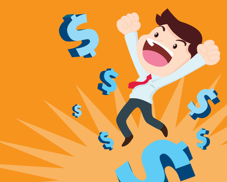 rebound: Illustration of businessman too happy  jump on money symbol in background.  business concept of leader has vision and leading his team to success