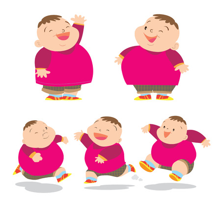 smart boy: Vector of Cute fat boy cartoon character many action. Illustration