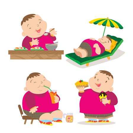 kid eat: Vector of Cute fat boy cartoon character many action. Illustration