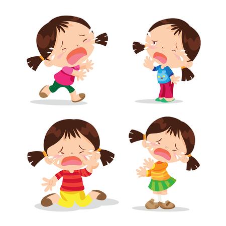 Vector van Cute cartoon meisje huilen veel actie op de gebeurtenissen. Stock Illustratie