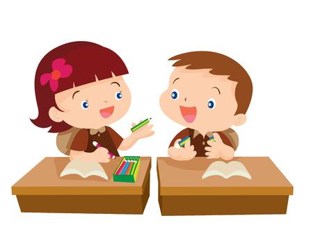 교실 그림 만화 isolete에서 친구를 위해 연필을주는 귀여운 소녀 학생의 벡터 일러스트