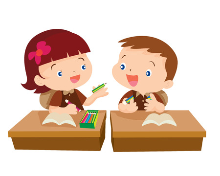 boy student: Vector of Cute girl student giving pencil for friend in classroom illustration cartoon isolete