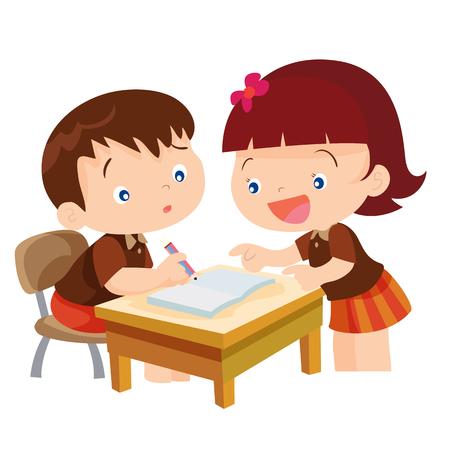 귀여운 소녀 학생 교실 그림에서 친구를 위해 가르치는 벡터 만화 isolete 일러스트