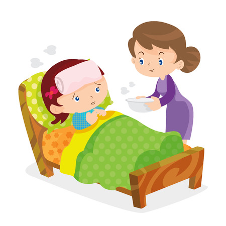 child care: Mother taking the temperature of sick daughter at home in the bedroom Illustration
