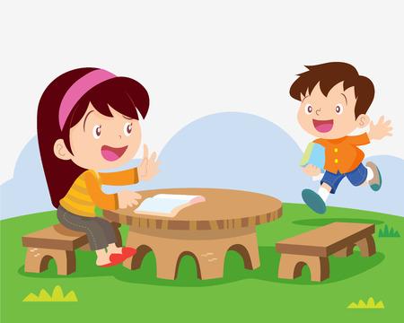 meet: children meet a friend studying outside classroom illustration