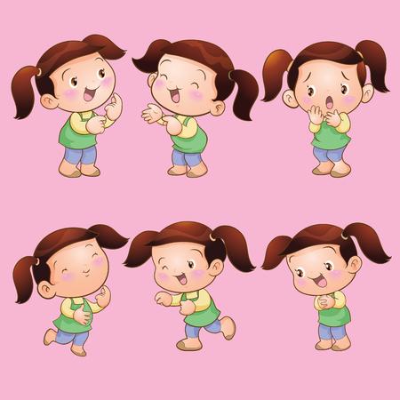 frightful: Vector cartoon of Cute children girl actions set