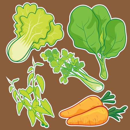 cute cartoon Vegetable set Ilustracja