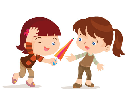 girl cute: vecto cartoon of cute girl share umbrella for her friend