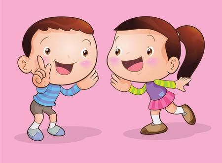 Cute girl parler et son garçon écoute Banque d'images - 52577960