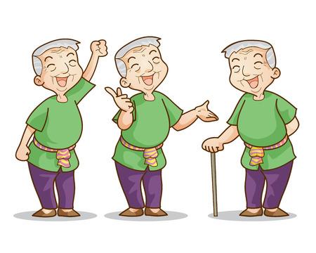 Funny illustration of old man cartoon character set. Isolated vector illustration. Иллюстрация