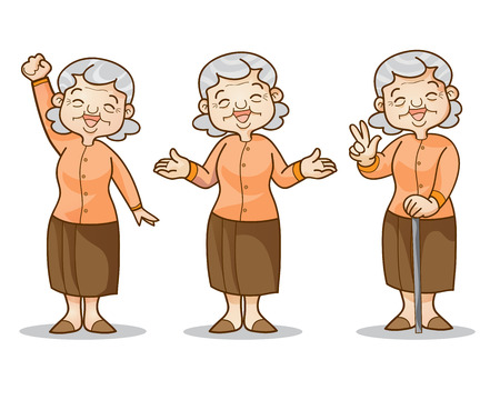 Funny illustration of old woman cartoon character set. Isolated vector illustration. Vector Illustration