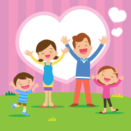 Portrait of four member family posing together smiling happy with Heart background. Иллюстрация
