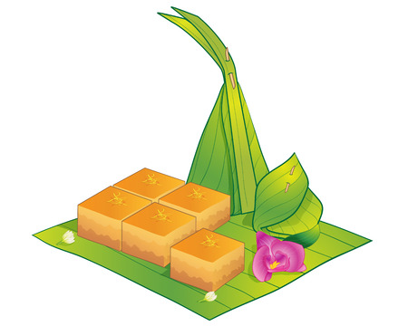 thai dessert: Thai Dessert, Illustration of thai Sweet  Steamed Egg Custard on Green Banana Leaf.