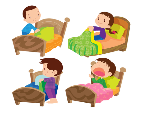 blanket: Children and bed on everyday life set